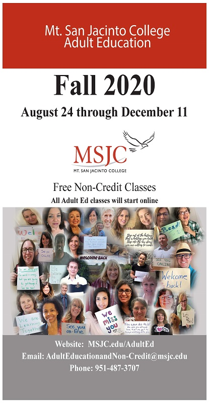 MSJC Adult Education Fall 2020 Schedule of Classes