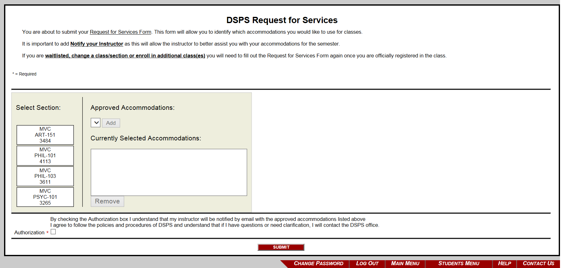 Request for Services Page