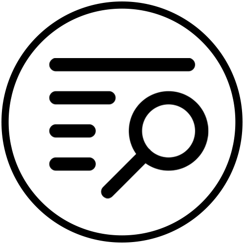 catalog and magnifying glass icon
