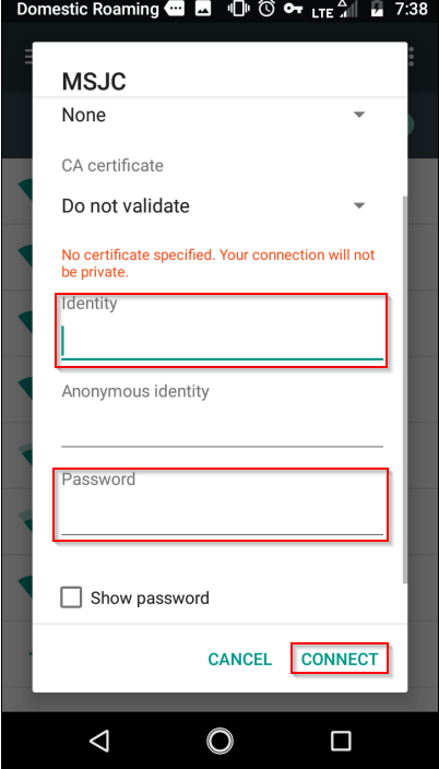 Enter Identity and Password