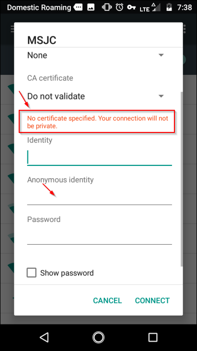 No Certificate Specified
